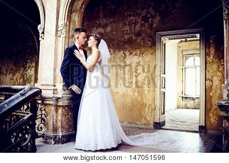 Bride And Groom In The Old Ruined Palace.