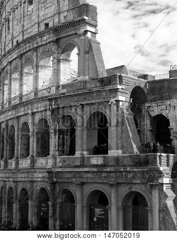 Black and white photo a close-up of the Colosseum (exterior image)