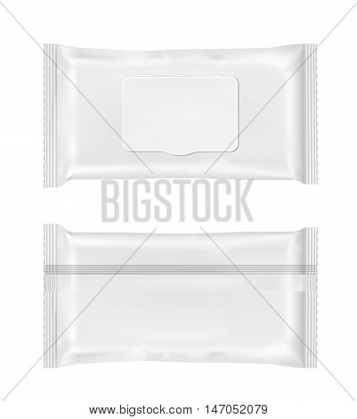 White wet wipes package with flap. Mock up design.
