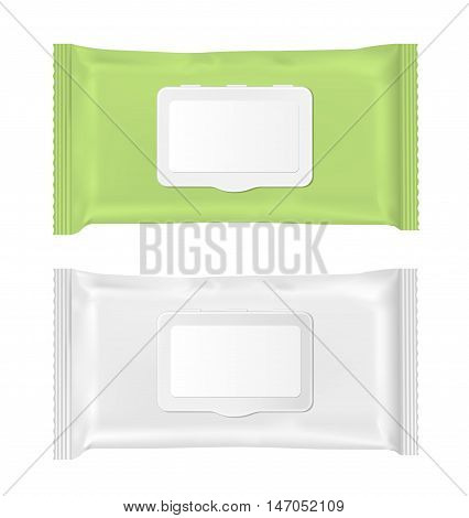 Green and white wet wipes package with flap.
