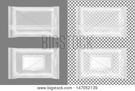 Transparent wet wipes package with flap. Mock up design