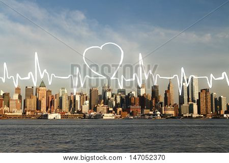 Abstract cardiogram on waterfront city background. Close up.