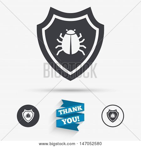 Shield sign icon. Virus protection symbol. Bug symbol. Flat icons. Buttons with icons. Thank you ribbon. Vector
