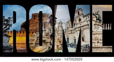 Word Rome with famous roman sights isolated on a white background
