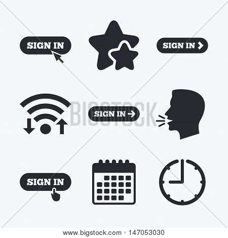 Sign in icons. Login with arrow, hand pointer symbols. Website or App navigation signs. Wifi internet, favorite stars, calendar and clock. Talking head. Vector