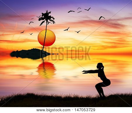woman doing sports in nature