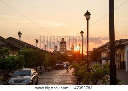 Granada Nicaragua  March 21 2016 La Calzada street view at afternoon. Travel imagery for Nicaragua