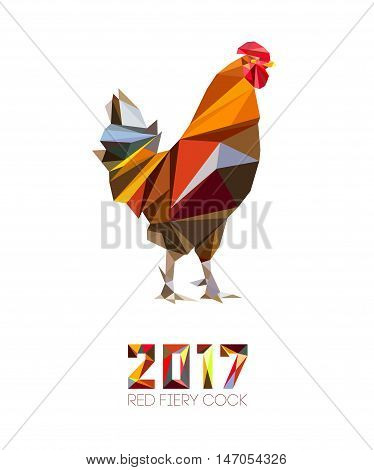 Cock and numbers 2017 in style of polygons. Rooster symbol of New 2017 - according to Chinese calendar Year of red fiery cock. Pet bird. Vector clipart fully editable and infinitely scalable