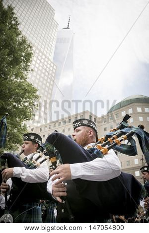 NEW YORK-SEPT 9 2016: Stephen P Driscoll Memorial Pipe Band at the NYPD Emerald Society Pipe and Drums 9/11 Memorial Procession and Commemoration Service on the 15th anniversary of the terror attacks.