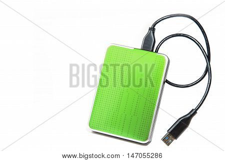 Green External Hard drive on white background