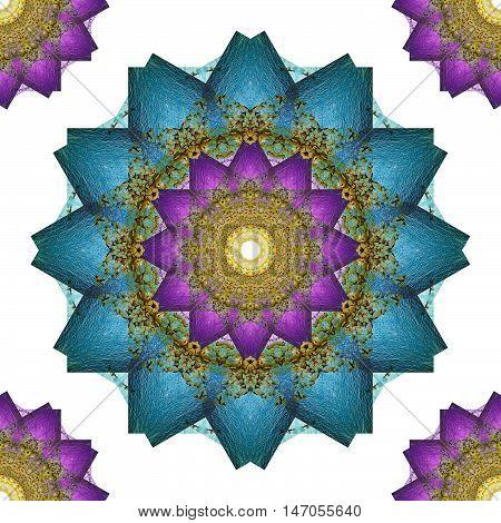 Mandala art kaleidoscope from beach and sea Seamless abstract flowers wallpaper background.