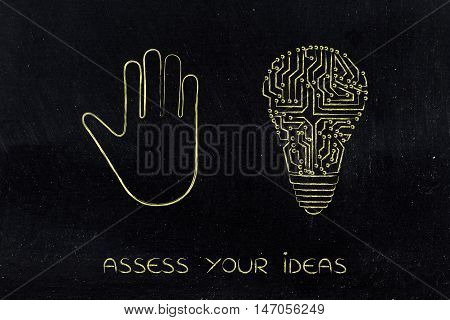 Hand Making A Stop Gesture And Electronic Lightbulb (idea)