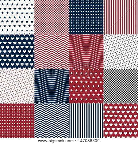 Repeating patterns for digital paper scrapbooking cards invitations gift wrap backgrounds and borders. File includes: anchor and star prints polka dots. Vector illustration EPS10