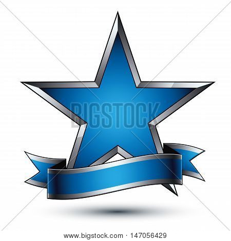Vector glorious glossy design element luxury blue 3d star with silver outline conceptual graphic template