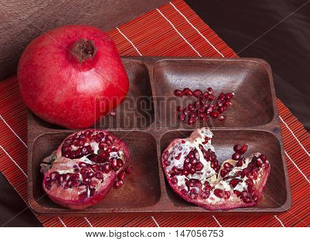 Pomegranate On Sectioned Tray