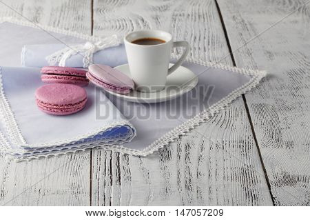 Cup Of Coffee Serving On Shabby Chic Background
