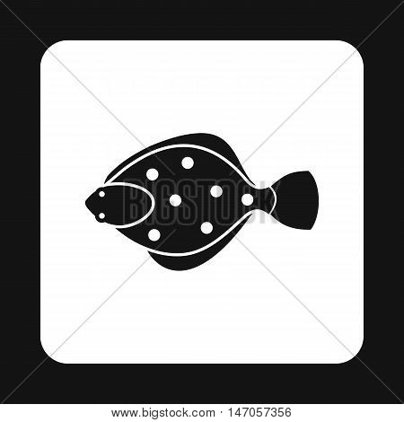 Flounder icon in simple style isolated on white background. Sea creatures symbol vector illustration
