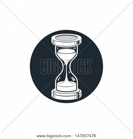 3d antique hourglass isolated on white. Time management idea.