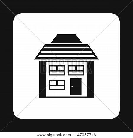 Two storey house with sloping roof icon in simple style isolated on white background. Structure symbol vector illustration