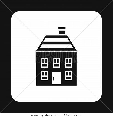Two storey house with chimney icon in simple style isolated on white background. Structure symbol vector illustration