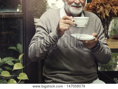 Retirement Cafe Pensioner Leisure Rest Man Concept
