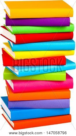 Stack of blank textbooks - isolated image
