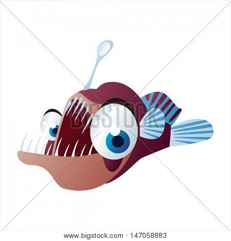 Sea life animals. Cool vector cute funny image of Angler fish