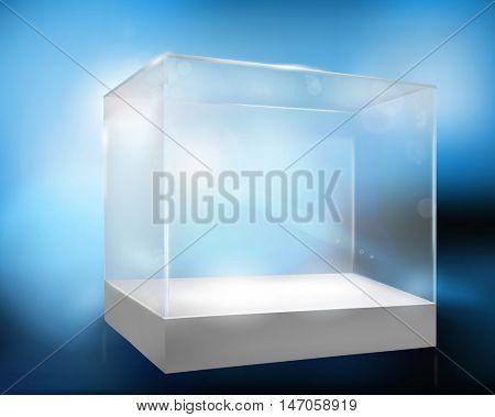 Empty display case. Vector illustration.