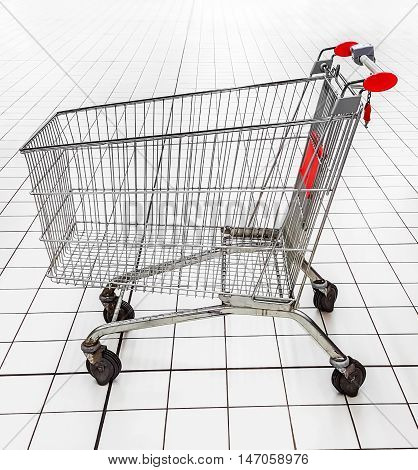 An empty shopping trolley in a supermarket.