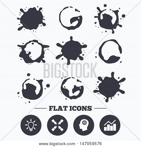 Paint, coffee or milk splash blots. Lamp idea and head with gear icons. Graph chart diagram sign. Teamwork symbol. Smudges splashes drops. Vector