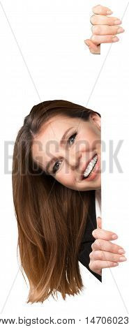 Businesswoman Peeking From Behind Invisible Wall Close-up - Isolated