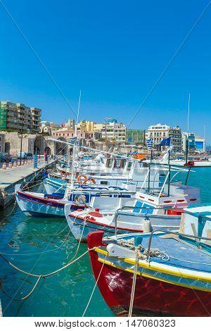 Fishing Boats And Heraklion Promenade, Crete