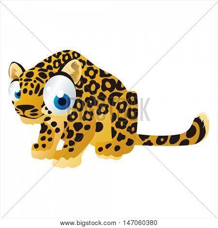 vector cartoon cute animals. Funny Jaguar