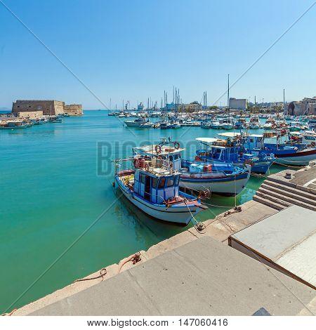 Vintage Fishing Boats At Heraklion Bay, Crete
