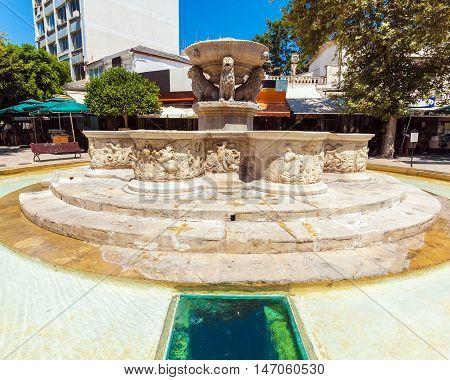 Venetian Morosini Fountain In The Lions Square, Heraklion, Crete