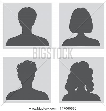 Avatar set. People profile set. Woman and man silhouette. Portrait collection