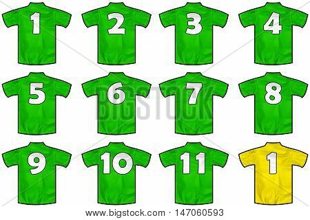 12 twelve green sport shirts as a soccer hockey basket rugby baseball volley or football team t-shirt.
