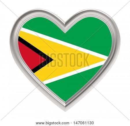 Guyana flag in silver heart isolated on white background. 3D illustration.