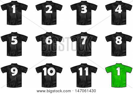 twelve Black sport shirts as a soccer hockey basket rugby baseball volley or football team t-shirt. For the goalkeeper or the referee or New Zeland team