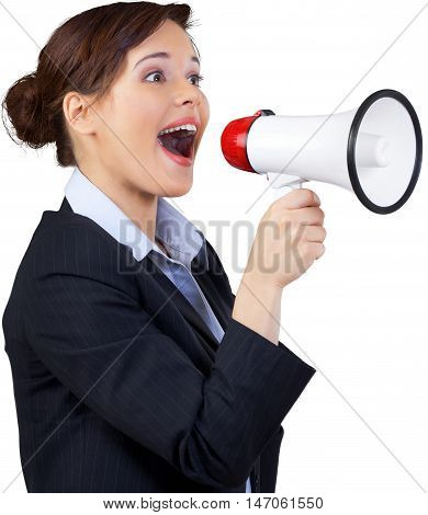 Businesswoman Shouting Through a Megaphone - Isolated