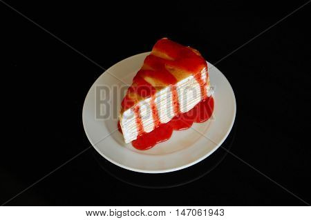 Crepe Cake Bakery Piece With Strawberry
