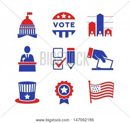 Political icons set