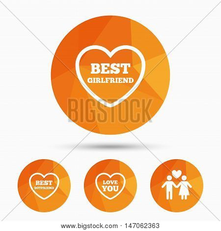 Valentine day love icons. Best girlfriend and boyfriend symbol. Couple lovers sign. Triangular low poly buttons with shadow. Vector