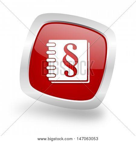 law square glossy red chrome silver metallic web icon