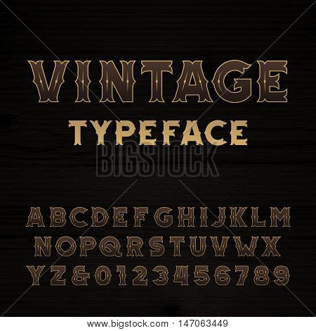 Vintage alphabet font. Bold letters and numbers on a dark wooden background. Retro vector typeface for your design.