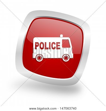 police square glossy red chrome silver metallic web icon