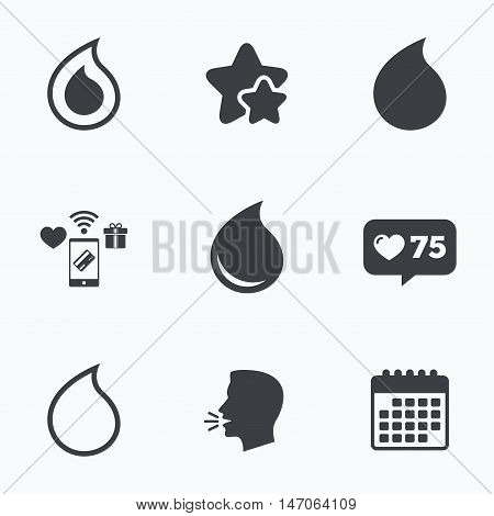 Water drop icons. Tear or Oil drop symbols. Flat talking head, calendar icons. Stars, like counter icons. Vector