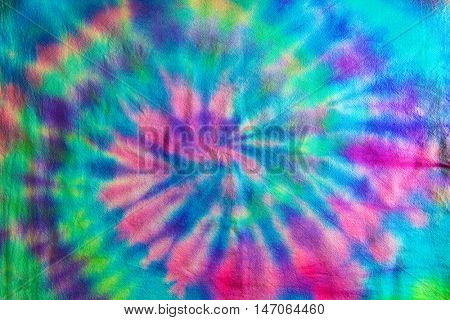 Swirl or Spiral pattern Tie dye fabric.