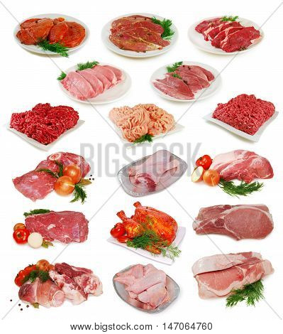 Raw meat. Big Collection of different chiken, pork and beef slices isolated on white