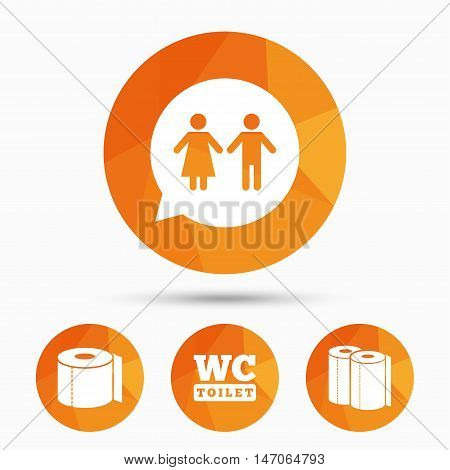 Toilet paper icons. Gents and ladies room signs. Paper towel or kitchen roll. Man and woman symbols. Triangular low poly buttons with shadow. Vector